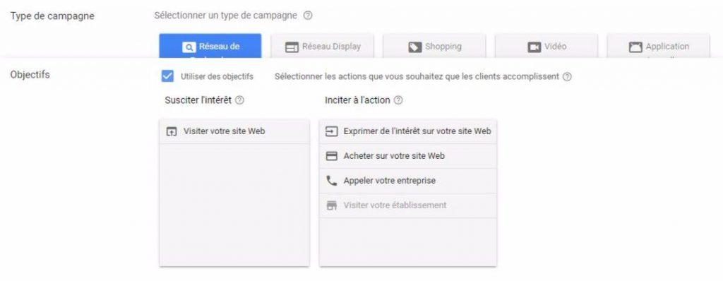 Nouvelle interface AdWords : Objectifs de campagne