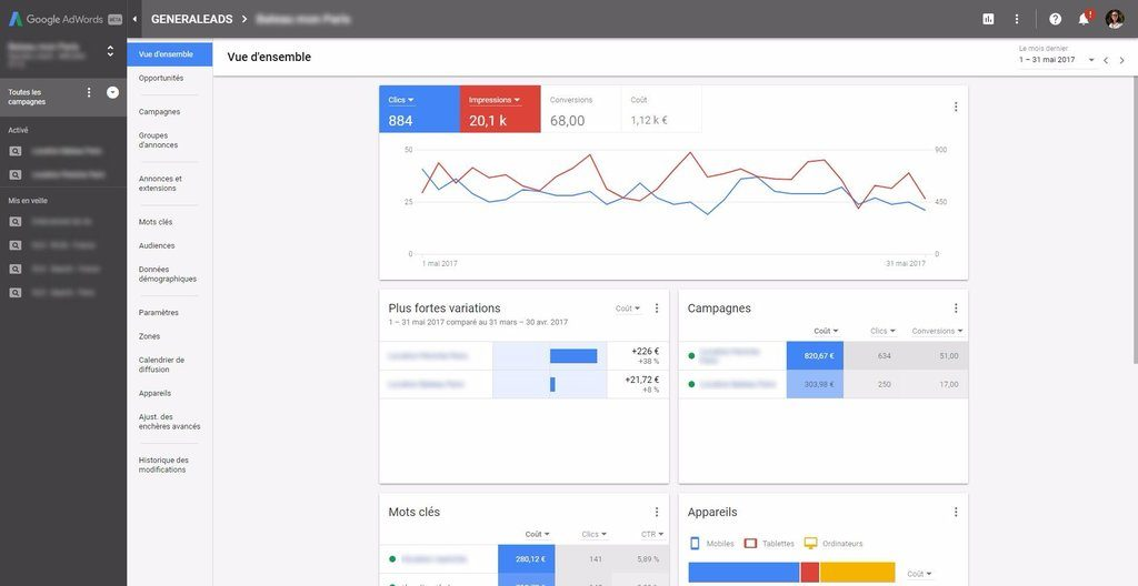Nouvelle interface AdWords : vue d'ensemble